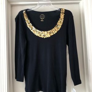 Michael kors top with gold sequins